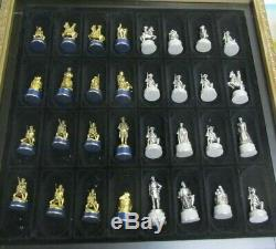 Franklin Mint Civil War Pewter Chess Set Gettysburg Edition Gold Silver Plating