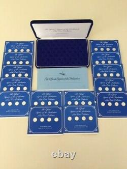 Franklin Mint Declaration Of Independence Signers Mini Coin Set, Sterling Silver