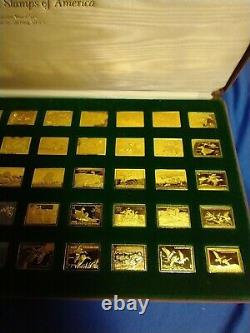 Franklin Mint Ducks Of America Stamp Set Silver With 24kt Gold Electoplated