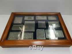 Franklin Mint Etched Sterling Silver 13 American Colonial Monetary Notes