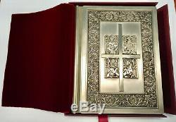 Franklin Mint Family Bible w Sterling Silver Cover New American (Catholic)