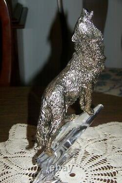 Franklin Mint Figurine Call of the Wild Silver-plated Wolf on Crystal Base