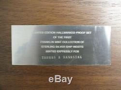 Franklin Mint First Sterling Silver Ingot Ship Luxury Liner Art Medal Set LF633