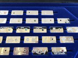 Franklin Mint Gemstones of The World Silver Ingots w Gemstone Specimens
