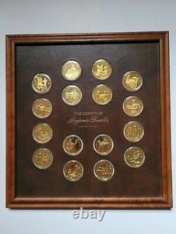 Franklin Mint Genious Of Benjamin Franklin Gold On Silver Medals 20 Oz Framed