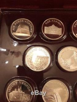 Franklin Mint Great American Landmarks Sterling Silver Medals Coins With Box