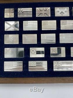 Franklin Mint Great Flags Of America 1974 Sterling Silver Ingot 42 Piece Set