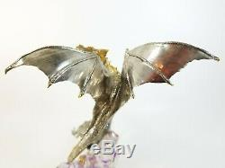 Franklin Mint Guardian Dragon Figurine Michael Whelan Crystal Base Silver Gold