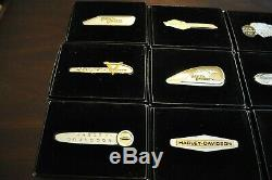 Franklin Mint Harley-davidson, Tank Badges (12), Sterling Silver And Gold
