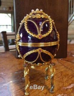 Franklin Mint Imperial Faberge Anniversary Egg 925 Silver 18K Amethyst