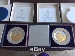 Franklin Mint John Hancock(76)& Thomas Jefferson(73) 8 Sterling Silver Plates