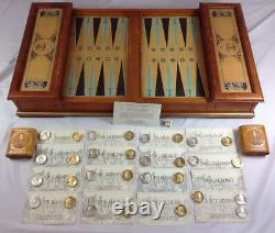Franklin Mint King Arthur Excalibur Backgammon Game Gold & Silver Plated Coins