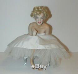 Franklin Mint LOVE MARILYN Monroe Porcelain Seated Doll White Dress Silver Bench