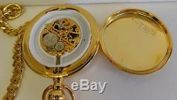 Franklin Mint Morgan Silver Dollar 1921 Pocket Watch with Case and Fob Works