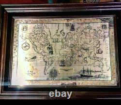 Franklin Mint Royal Geographical Society Sterling Silver Map Framed 1976