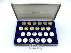 Franklin Mint STAR TREK Checkers 24K Gold & Silver over Bronze with Case, NO Board