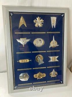 Franklin Mint Star Trek 12 Piece. 925 Sterling Silver Insignia Badge Set Display