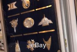 Franklin Mint Star Trek 24 Sterling Silver Badge Insignia Set W 2 Cases Rare