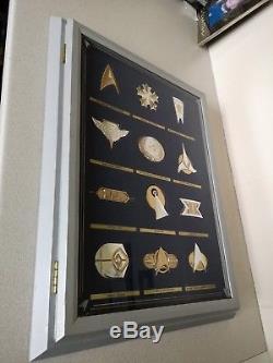 Franklin Mint Star Trek Insignia Badge Set 925 Silver / Gold