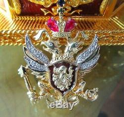 Franklin Mint Sterling Silver Faberge Imperial Eagle Egg Musical Box 14k Pin 585