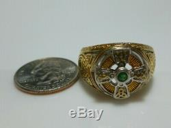 Franklin Mint Sterling Silver Gold Emerald Celtic Cross Mens Biker Shield Ring