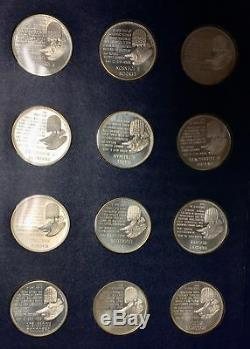 Franklin Mint Sterling Silver Presidential Profiles Commemorative Medals 36pc