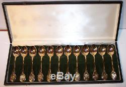 Franklin Mint set 12 24kt vermeil over sterling silver 12 days Christmas spoons