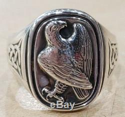Georg Jensen Franklin Mint 925 Sterling Silver Eagle Ring Size 11.5 Pre-owned