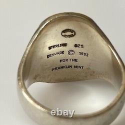 Georg Jensen Vintage Sterling Silver 1982 Franklin Mint Eagle Ring Size 10.25