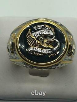 Harley Davidson Men's Eagle Ring by Franklin Mint Live To Ride Ride To Live