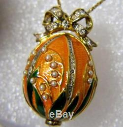 Igor Carl Faberge Franklin Mint Sterling 14K Imperial Faberge Egg Pendant Watch