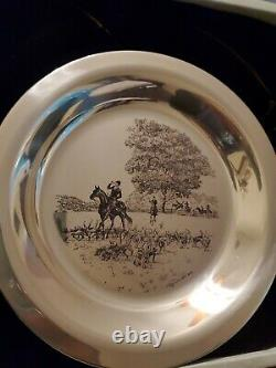 James Wyeth 1974 Sterling Silver Numbered Plate Riding To The Hunt In Box