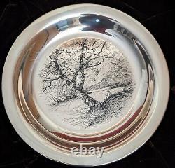 James Wyeth Along the Brandywine Franklin Mint Sterling Silver Plate