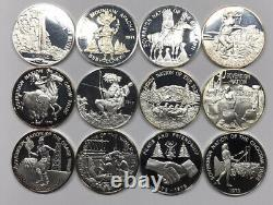Lot of 12 Franklin Mint Indian Tribal Series Proof. 999 Silver Rounds / Medals