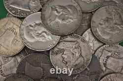 MAKE OFFER 1 Troy Pound Ben Franklin Half Dollars Halves Junk 90% Silver Coins