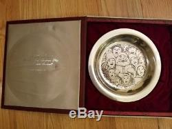 Norman Rockwell Franklin Mint Sterling Silver 178g 8 Plate Collection