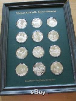 Norman Rockwell Spirit Of Scouting Set Silver Coins By Franklin Mint