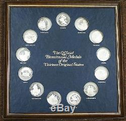 Official Bicentennial Sterling Silver Proof Medals 13 Colonies By Franklin Mint