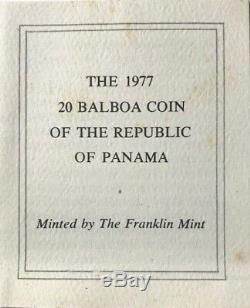 PANAMA 20 Balboas 1977 Huge Proof Silver Coin 3.8539oz ASW OGP/COA