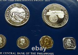Philippines Silver Proof Set 1977 Pilipinas 5 25 50 Piso Sentimos Manuel Quezon