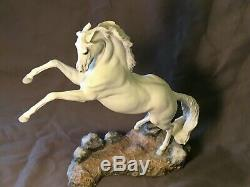 RARE FRANKLIN MINT PAMELA du BOULAY WHITE STALLION'SILVER' HORSE STATUE