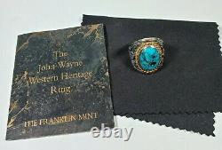 RARE John Wayne Sterling Silver Turquoise Men's Western Ring Franklin Mint JW