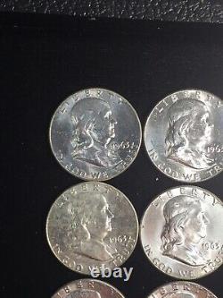 Roll if (20) 1963 BU Franklin Silver Half Dollars NO RESERVE