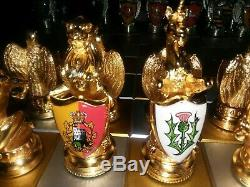 Royal Houses Of Britain Heraldic Chess Set 24k Gold & Silver 1982 Franklin Mint