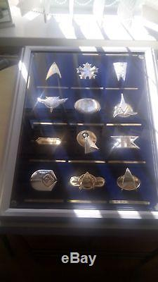 Star Trek 24 Solid Silver Official Insignia Badges & Case Franklin Mint