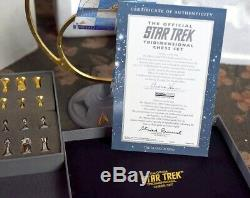 Star Trek Franklin Mint Tridimensional 3D Chess Board Set Silver Gold Pieces