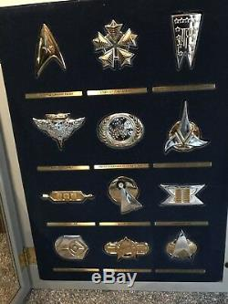 Star Trek Next Gen Collection Gold Silver Insignia Set Glass Case Franklin Mint