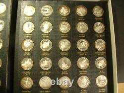 Sterling Silver 50 Coin States Of The Union Complete Book & Coa Franklin Mint