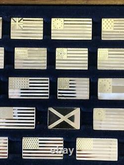 Sterling Silver Franklin Mint Great Flags of America with case FULL SET OF 42