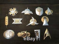 Sterling Silver & Gold Official Star Trek Insignia Badges Franklin Mint Set 1016